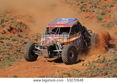 BLOEMFONTEIN, SOUTH AFRICA - OCTOBER 15: Rudi Britz and Pieter Ruthven in their Ruwacon BAT in action during a South African off road championship event in Bloemfontein, South Africa on October 15, 2011