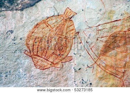 Aboriginal rock art depicting a fish, Ubirr, Kakadu National Park, Northern Territory, Australia