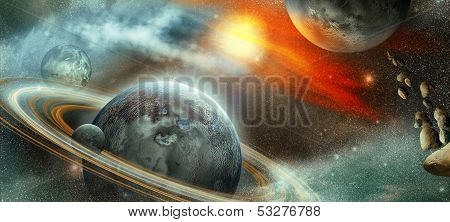 Planet With Rings And Satellite