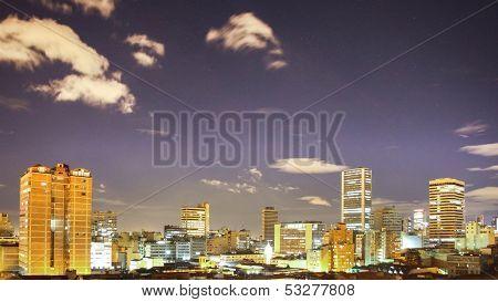 Bogota skyline timelapse at night