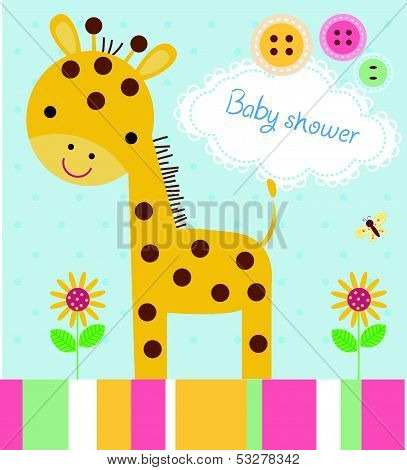 Cute baby shower birthday invitation card with giraffe