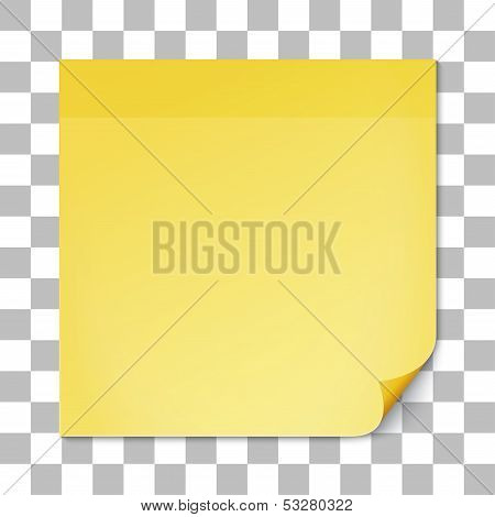 Yellow stick note on transparent texture backdrop