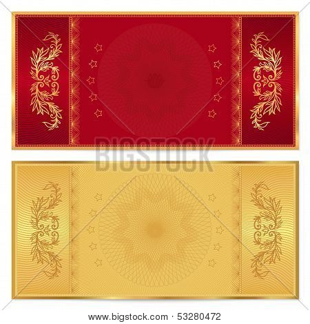 Gift certificate, Voucher, Coupon, ticket template with Floral, scroll pattern (bow, frame)
