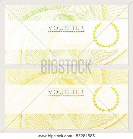 Colorful background with guilloche pattern (watermarks), border for note, ticket poster