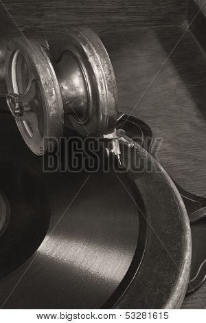 Vintage Gramophone Phonograph Closeup With Turntable and Needle IV