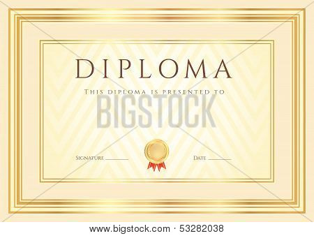Certificate, Diploma of completion template with gold frame