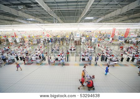 SAMARA, RUSSIA - JULY 7: Top view of a hall Auchan hypermarket, July 7, Samara. In Russia there are more than a hundred stores Auchan