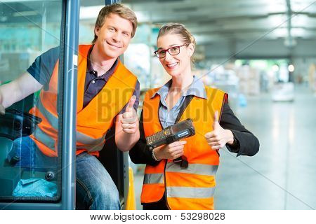 Logistics Teamwork - forklift driver, Worker or warehouseman and his coworker with scanner at warehouse of freight forwarding company poster