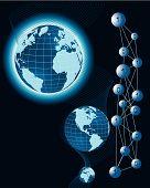 Digital  binary world on blue background. poster