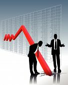 stock market crash and the perplexity of two business men poster