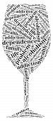 Tag or word cloud alcohol addiction related in shape of glass poster