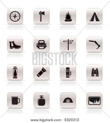 Simple Tourism and Holiday Vector Icon Set poster