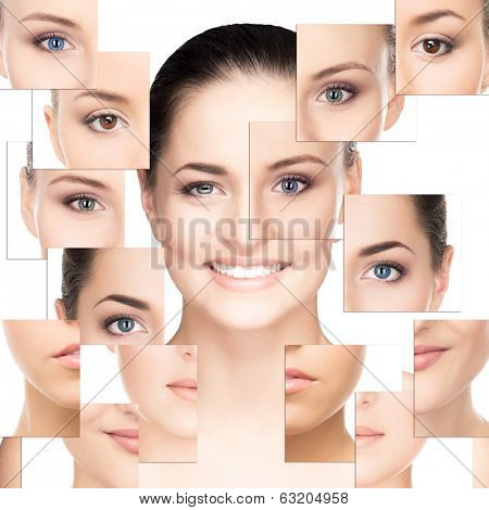 Portrait of young, healthy and beautiful woman (plastic surgery, medicine, spa, cosmetics and visage concept) poster