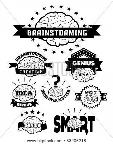 Brain icon designs & badges