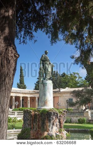 General Sir Frederick Adam's statue in front of the Museum of Asian Art, Corfu Town. As governor of the Ionian he built an aqueduct that brought fresh water to the island capital.
