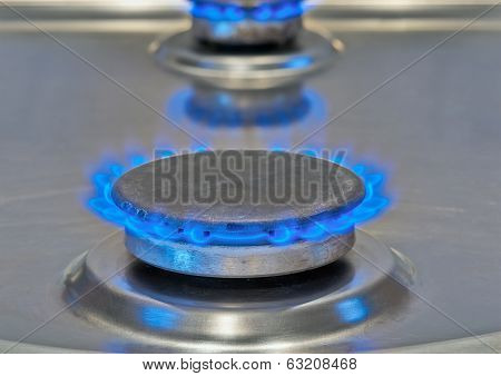 Blue Flames Burning From A Gas Stove