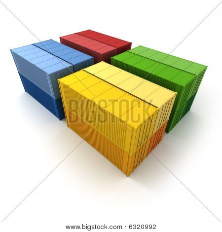 Four Blocks Of Cargo Containers