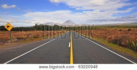 Driving towards Mount Ngauruhoe, Tongariro National Park, New Zealand