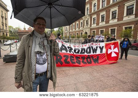 KRAKOW, POLAND - APR 13, 2014: Unidentified participants IV Procession Katyn in memory of all murdered in Apr 1940, more than 21,000 Polish prisoners from NKVD camps and prisons at behest of I.Stalin.