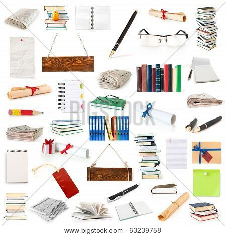 books, pages, notebooks, papers and pen collection isolated on white