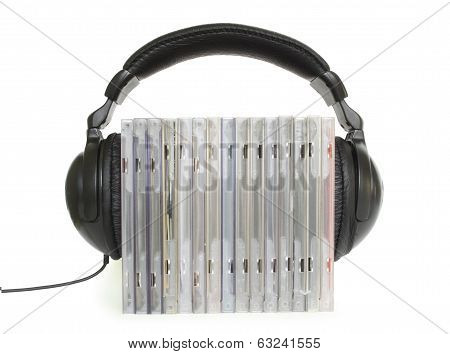 headphones on the cds isolated on white