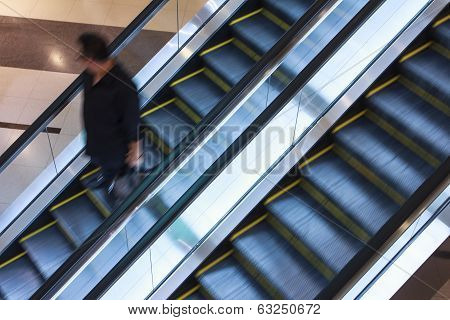 Elevator in shopping malls, with slow shutter poster
