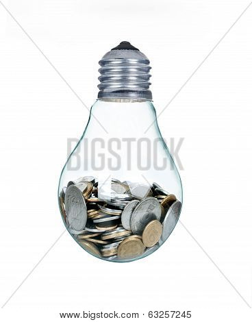 money in bulb, Wasting money concept isolated on white