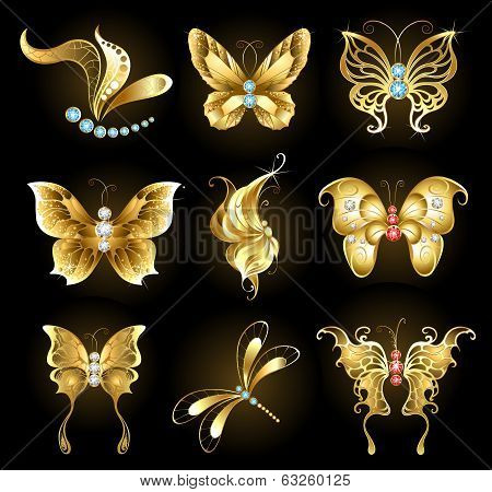 Set of golden butterflies