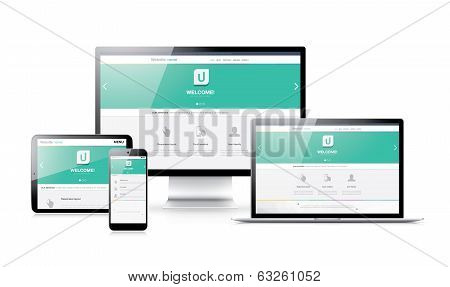 poster of Flat modern responsive web design in electronic devices