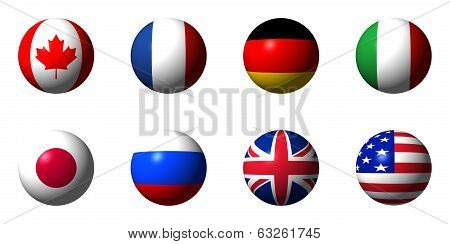 Collage of flags of the G8 countries