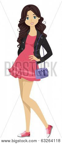 Illustration of a Fashionable Female Student Posing for a Shot