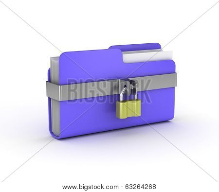 Data security. 3d illustration of folders closed isolated on white. poster
