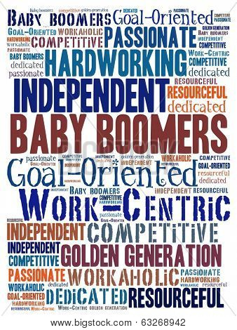 Baby boomers in word collage