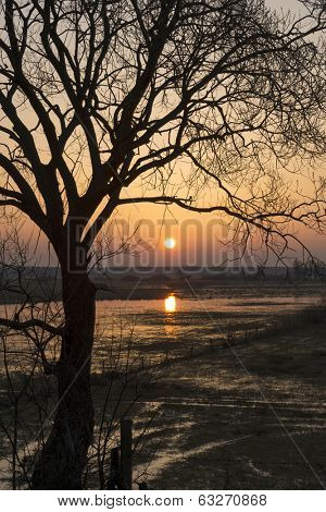 Sunrise in early spring in the Biebrza National Park, Poland, Podlasie