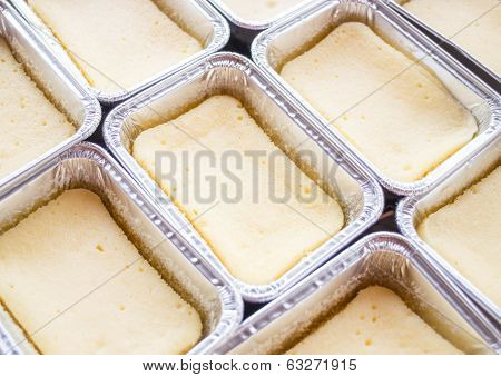 Preparing Cheese Base Square Cake