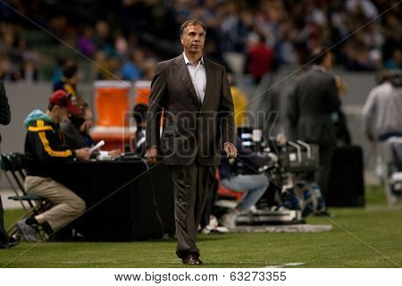 CARSON, CA - APRIL 12: Los Angeles Galaxy head coach Bruce Arena during the MLS game between the Los Angeles Galaxy & the Vancouver Whitecaps on April 12th 2014 at the StubHub Center.