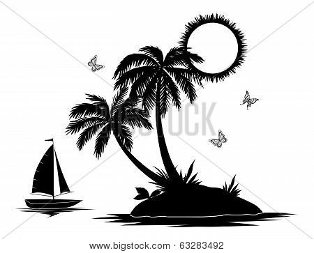 Island with palm and ship silhouettes
