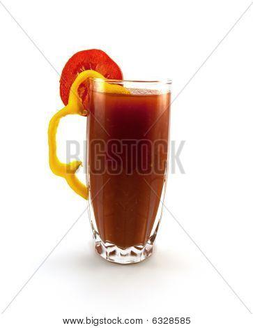 Glass Of Tomato Juice With A Pepper And Tomato Segment