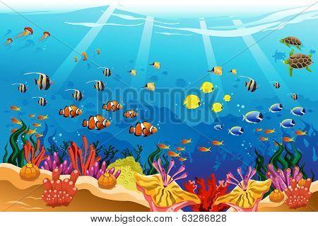 A vector illustration of marine underwater scene poster