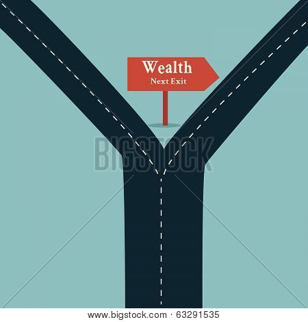 Wealth Road Sign Arrow Show Fortune Road Business Concept And Financial Freedom Symbol With A Straig