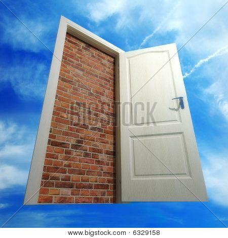 White Door Put By A Bricklaying Against The Sky