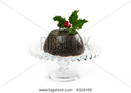 Christmas pudding with holly and berry decoration on white background poster