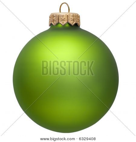 Green Christmas Ornament . Isolated Over White.