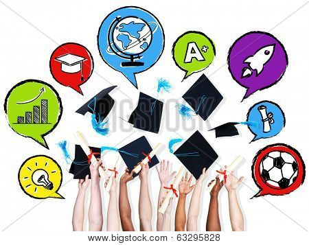 Multi-ethinic arms throwing graduation hats and their aspirations in speech bubbles.