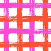 Vector seamless plaid pattern with crossing wide stripes in bright pink and orange colors can be used for web, print, wallpaper, spring summer fashion, fabric, textile, card background poster