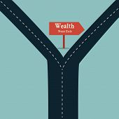 Wealth road sign arrow show fortune road business concept and financial freedom symbol with a straight road or highway. poster