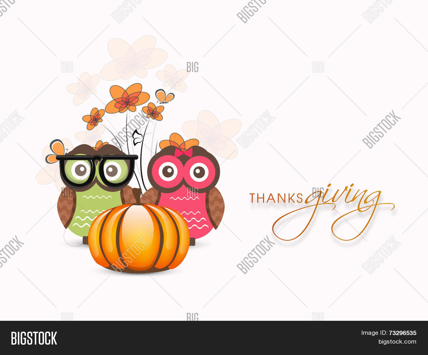 Happy Thanksgiving Day Celebrations With Cute Owl Couple And Pumpkin On Maple Leaves Decorated Background