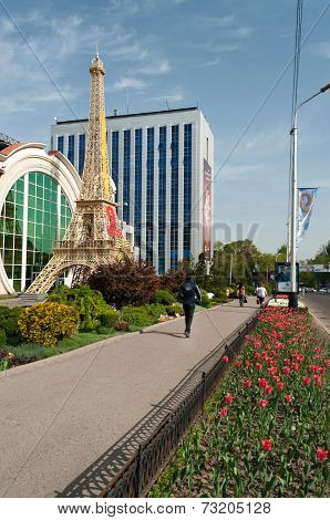 Reduced Copy Of Eiffel Tower In Front Of Shops In Almaty