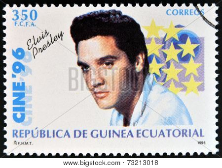 EQUATORIAL GUINEA - CIRCA 1996: A Stamp printed in Guinea dedicated to cinema shows Elvis Presley