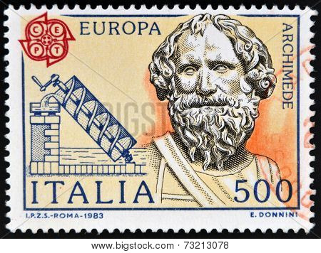 ITALY - CIRCA 1983: stamp printed in Italy shows Archimedes and his screw circa 1983